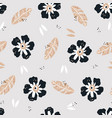 flowers flat hand drawn seamless pattern vector image