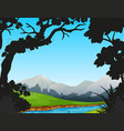 forest scene with river and mountains vector image vector image