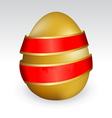 gold easter egg tied with red ribbon vector image vector image