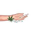 hands drugs weed pills illegal marijuana narcotics vector image vector image