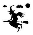he scary witch flying on a broomstick vector image vector image