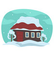 house rooftop covered with snow winter rural vector image vector image