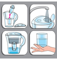 Icons used for filter jugs set vector image vector image