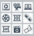 isolated cinemavideo icons set vector image