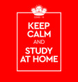keep calm and study at home virus novel vector image