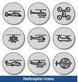 light helicopter icons vector image vector image
