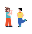 little kid teasing and taunting another flat vector image vector image