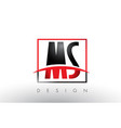 ms m s logo letters with red and black colors and vector image vector image