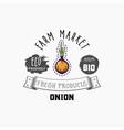 onion bio sticker and eco products onion web vector image