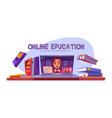 online education banner teacher conduct webinar vector image vector image