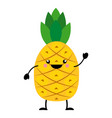 pineapple in flat style vector image vector image