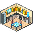 pixel art isometric kitchen detailed vector image vector image