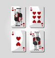 poker cards hearts casino gamling symbol vector image
