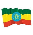 political waving flag of ethiopia vector image vector image