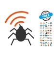 Radio Spy Bug Icon with 2017 Year Bonus Symbols vector image