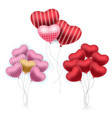 realistic balloons set bunches colourful vector image