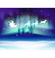Reindeer and Santa Claus on northern lights vector image