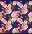 roses seamless pattern floral dark blue vector image