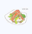 salmon salad hand drawn water color sketch vector image