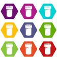 salt shaker icons set 9 vector image