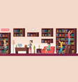school library people with books students sitting vector image