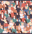 seamless crowd people in white medical masks vector image