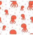 seamless pattern with cartoon octopus sea animals vector image