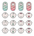 set baby face simple icons varied expressions vector image vector image
