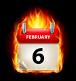sixth february in calendar burning icon on black vector image vector image