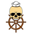 skull sailor39s head with wooden vector image