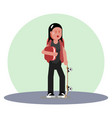 student girl with backpack vector image