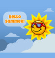 sun character say hello summer vector image