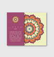 template for brochure card with mandala vector image vector image