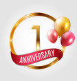 template gold logo 1 years anniversary with ribbon vector image vector image