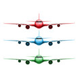 three different colored realistic planes vector image