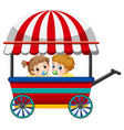 two babies on wagon vector image vector image