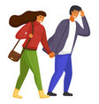 woman in sweater man in shirt people go holding vector image vector image