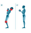 wrong and correct standing barbell press start vector image vector image