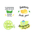 summer labels logos hand drawn tags and elements vector image