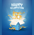 55 th years anniversary and open gift box vector image vector image
