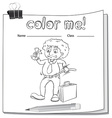 A color me worksheet with a man vector image vector image