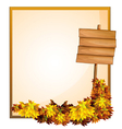 An empty space and the empty wooden signboard vector image vector image