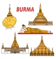 Ancient buddhistic temples of Burma colorful icon vector image vector image