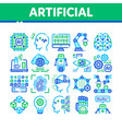 artificial intelligence thin icons set vector image