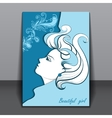 Beautiful girl in profile with shadow vector image vector image