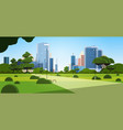 beautiful urban park in summer day city skyline vector image