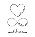 believe - word with infinity symbol hand drawn vector image