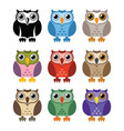 black and white and colorful owl icons vector image vector image