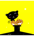black halloween cat silhouette sitting on the roof vector image