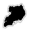black silhouette of the country uganda with the vector image vector image